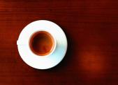 Cafe solo plano desde arriba